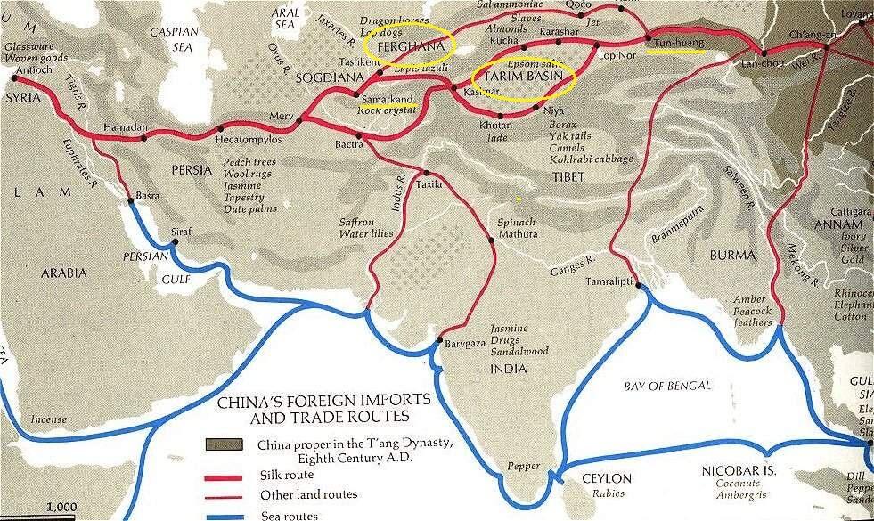 rotte commerciali cinesi nell'VIII secolo